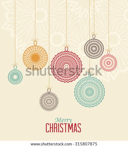 Vector Christmas balls on a light background - stock vector