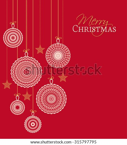 Vector Christmas balls on a red background - stock vector