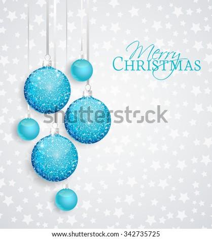 Vector Christmas balls on a silver background - stock vector