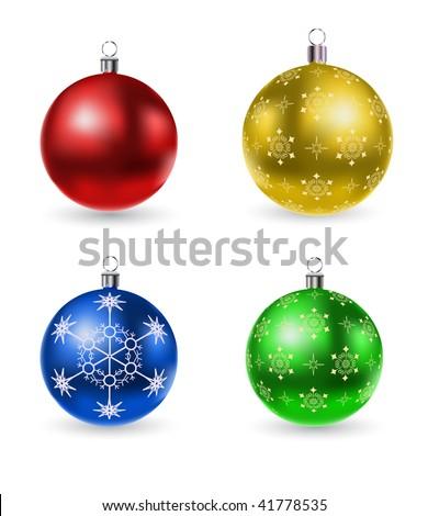 vector christmas balls set - stock vector