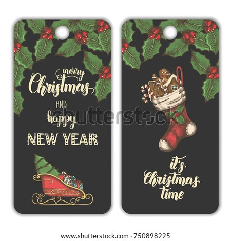 "Vector Christmas banners with leaves of mistletoe, sock with gingerbread, candies and  Santa's sleigh on black. Hand made trendy lettering ""Merry Christmas and Happy New Year. Hand-drawn, sketch."