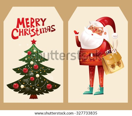Vector Christmas beautiful tags with Santa Claus and Christmas tree - stock vector
