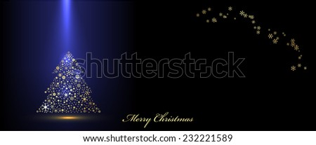 Vector Christmas blue banner - stock vector