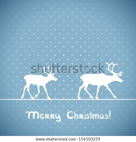 Vector christmas blue greeting card with deers.