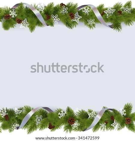 Vector Christmas Border with Snowflakes - stock vector
