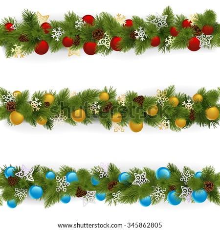 Vector Christmas Borders Set 4 - stock vector