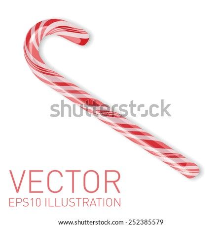 Vector Christmas candy cane isolated on white - stock vector