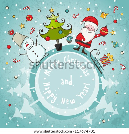 Vector Christmas card. EPS 8 vector illustration for Christmas design. - stock vector