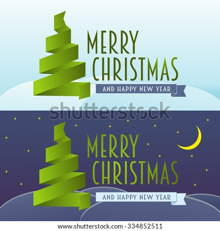 vector Christmas card set. Merry Christmas and happy new year concept of greeting card with ribbon christmas tree  - stock vector