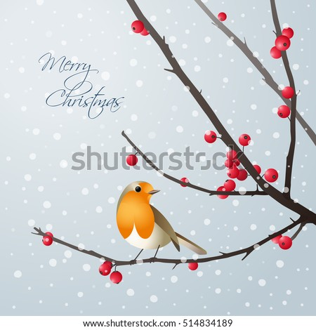 Vector christmas card with bird sitting on branch with red berries