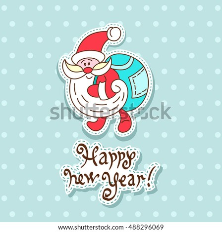 Vector Christmas card with cartoon Santa Claus style with stylized hand-drawn lettering.