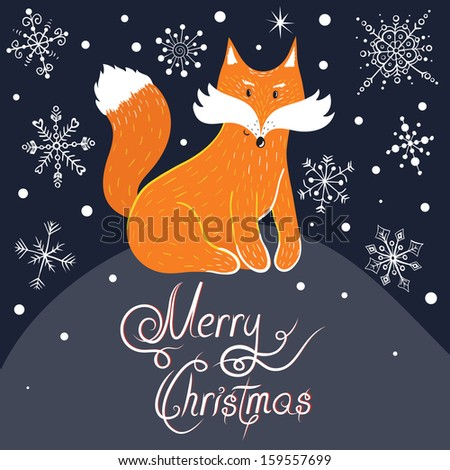 """Vector christmas card with cute fox, snowflakes and text """"Merry christmas"""" - stock vector"""