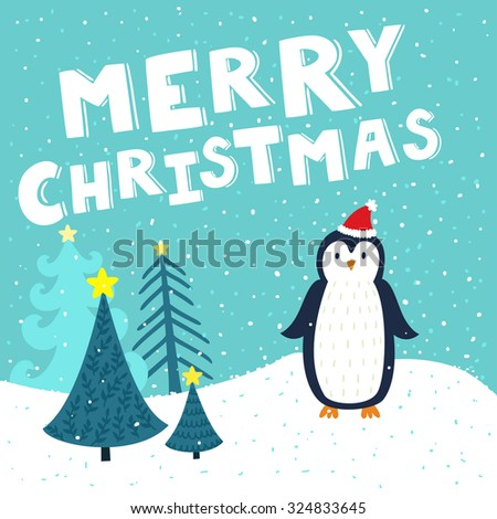 """Vector Christmas card with cute penguin in Sants's hat. Holiday background with hand drawing cartoon character, winter landscape, Christmas trees and text """"Merry Christmas"""".  - stock vector"""