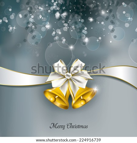 Vector Christmas Card with Jingle Bells.  - stock vector