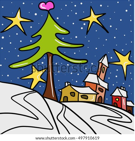 vector Christmas card with landscape