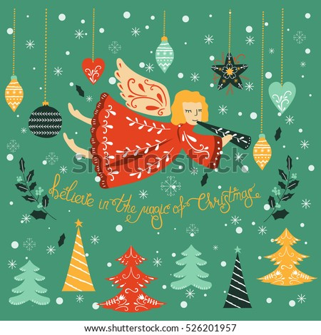 Vector christmas card lettering angel vector stock vector royalty vector christmas card with lettering and angel vector design for greeting cards and invitations m4hsunfo