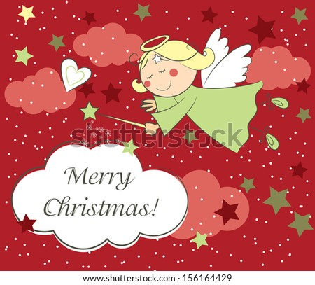 Vector christmas card with little angel  - stock vector