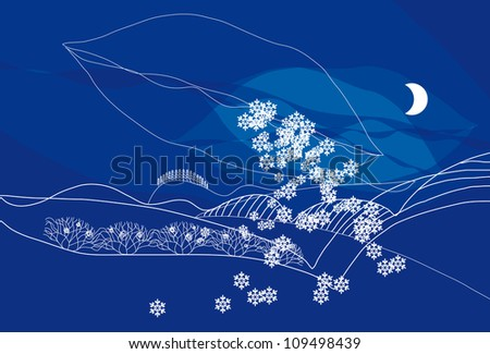 Vector Christmas Card with Moon and Snowflakes - stock vector