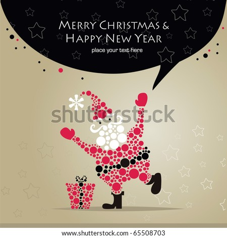 Vector Christmas Card with Santa - stock vector