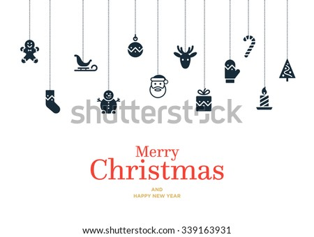 Vector Christmas card with set of icons and elements, ball, gift, mitten, candy, bauble, Snowman and Santa - stock vector