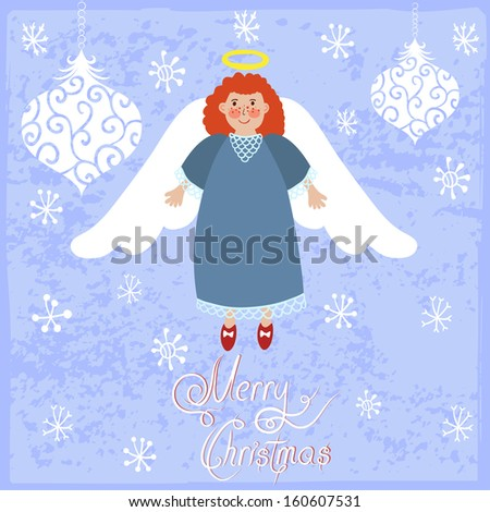 """Vector christmas card with smiling redhead angel, toys, snowflakes and text """"Merry Christmas"""" on the blue retro background - stock vector"""