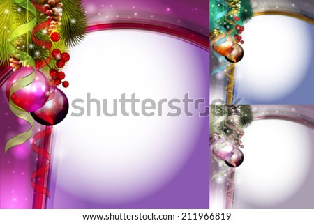 vector christmas card with three color variations - stock vector
