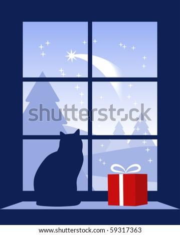 vector Christmas comet outside window - stock vector