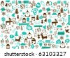 vector - christmas crazy wallpaper - stock vector