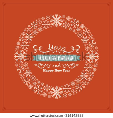 Vector christmas decorating design made of snowflakes. Colorful card template with copy space - stock vector
