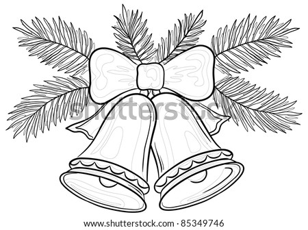 Vector, Christmas decoration: bells with bow and fir branches, contours - stock vector
