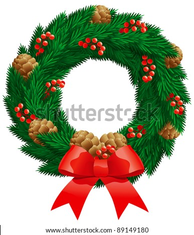 Vector christmas decoration - fir wreath with berries, cones isolated on white background. - stock vector
