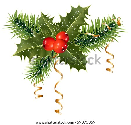Vector. Christmas decoration: holly with berries. - stock vector