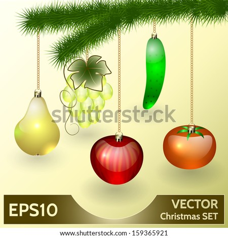 Vector Christmas Decoration in Form of Glass Fruits and Vegetables - stock vector