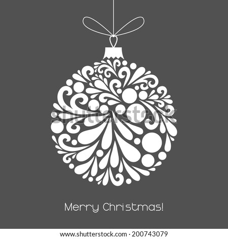 Vector Christmas decoration made from swirl shapes. Unusual circle design element. Greeting, invitation card. Simple decorative gray and white illustration for print, web. - stock vector