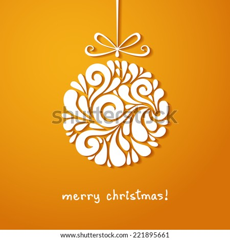 Vector christmas decoration of swirl shapes. Ball with bow. Greeting, invitation cute card. Original modern circle design element. Illustration for print, web - stock vector