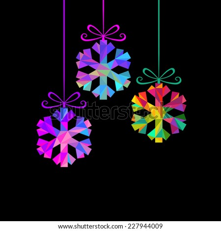Vector Christmas decoration - snowflakes. Winter original design element. Festive greeting, invitation card. Decorative Illustration for print, web - stock vector