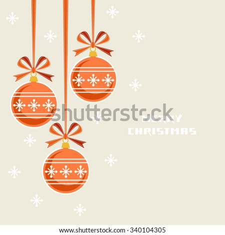Vector Christmas decoration with ribbon and bow. Greeting, invitation cute card. Original red design element. Decorative illustration for print, web - stock vector