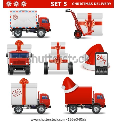 Vector Christmas Delivery Set 5 - stock vector
