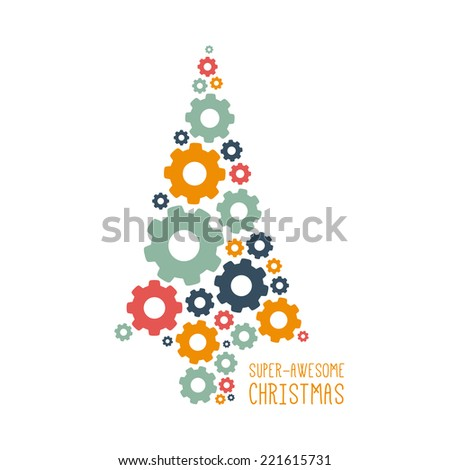 Vector Christmas design. Cogwheel tree. Illustration with place for your text. - stock vector