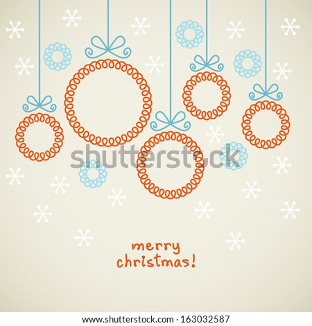 Vector Christmas Doodle Background Cute Balls In Shape Of Frame For Family Photo Or