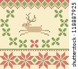 Vector Christmas embroidery cross-stitch style, can be use like embroidery pattern, wallpaper, greeting card, decoration, background   - stock vector