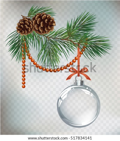 Vector Christmas fir tree and realistic transparent silver Christmas ball on a light abstract background