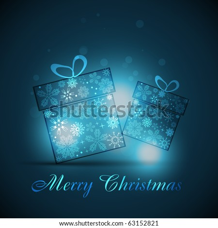 vector christmas gift box on blue background - stock vector