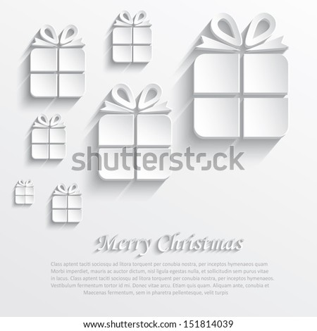 vector christmas gift white paper 3D