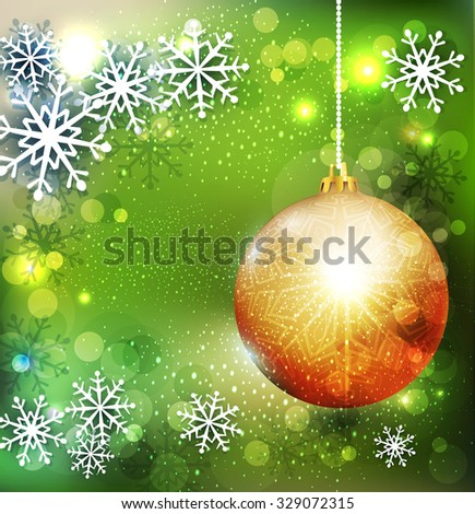 Vector Christmas green background with golden ball - stock vector