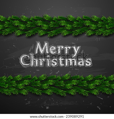 Vector Christmas Greeting Card. Chalk drawn Happy new year xmas - stock vector