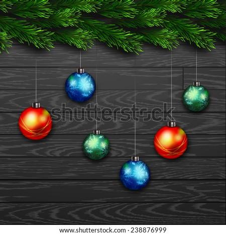 Vector Christmas Greeting Card. Chalk drawn Happy new year xmas with balls - stock vector