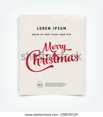 Vector Christmas greeting card design over grungy weathered paper background. - stock vector
