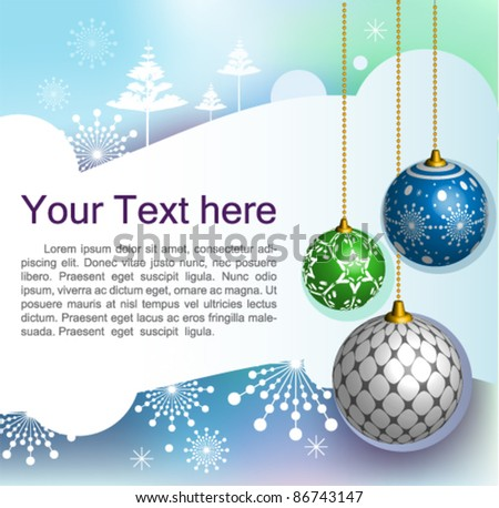 Vector Christmas greeting card : elegant Christmas background with evening baubles