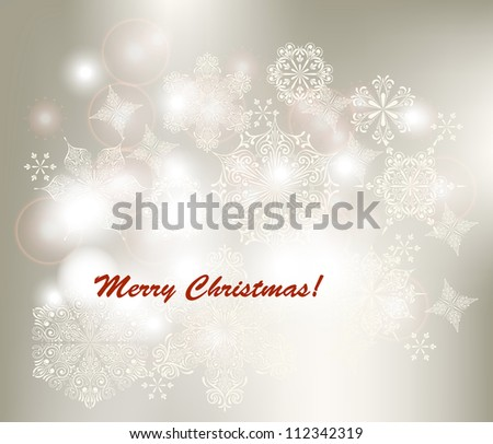 Vector Christmas Greeting Card,   fully editable eps 10 file, snowflakes can be used separately - stock vector